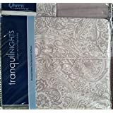 Divatex Luxury Weight Bedding Tranquil Nights Light Green & Tan Floral Paisley Queen 6 Piece Sheet Set