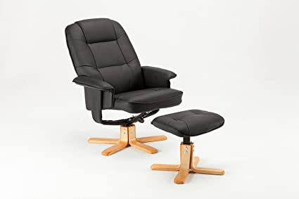 MCombo Relaxsessel Fernsehsessel TV Sessel Sofa kippbar Dreh mit Fußhocker Kunstleder Holzfußen Schwarz