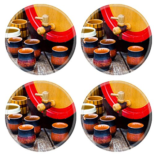 Liili Round Coasters (4 Piece) wooden barrel with group of ceramic pottery IMAGE ID 11075368