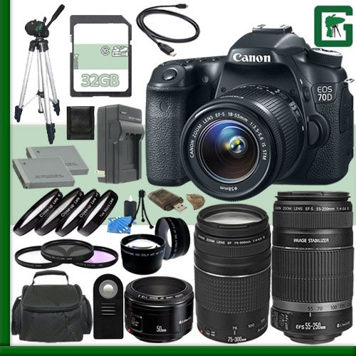 Canon Eos 70D Digital Slr Camera Kit With 18-55Mm Is Stm Lens And Canon 55-250Mm Stm Lens And Canon 50Mm F/1.8 Lens And Canon Ef 75-300Mm Iii Lens + 32Gb Green'S Camera Package 2