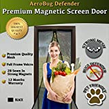Magnetic Screen Door, AeroBug Defender - Heavy Duty Mesh Screen with 28 Strong Magnets Sewn In & Full Frame Velcro. Keep Bugs Out, Let Fresh Air In. Screen Door Fits Door Opening Up To 34