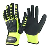 Nmsafety Anti Vibration Oil-proof Cut Resistant Safety Work Glove,Full finger,Yellow Nylon+HPPE+Glassfirbe Seamless Knitted Liner With Sandy Nitrile Rubber Palm,Excellent Grip. (Extra Large) (Color: Yellow & Black, Tamaño: Extra Large)