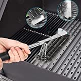 Deppon 3 in 1 Stainless Steel Triple Head BBQ Grill Cleaning Brush Scraper with Long Handle