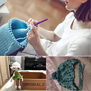 13 Pcs Crochet Hook Set, Ergonomic Grip Soft Handles Aluminum Large Crochet Hooks for Arthritis and Beginners,2mm(B)-10mm(N) Extra Long? Plus Knit Needles Weave Yarn Set with Case (Color: 13pcs)