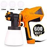 Paint Sprayer 600 Watt HVLP Electric Paint Sprayers Gun for Home Exterior Interior w/ 3 Nozzle Sizes 1000 ml Detachable Container (US Stock) (Color: Bisque - 600W)
