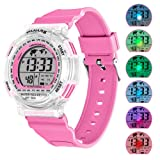Kids Sport Digital Watches, Boys Girls Outdoor 50m Waterproof Electrical Wristwatch with Alarm Stopwatch Reminder for Age 6-16 Child Young Teen (Pink)