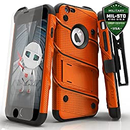 iPhone 6 / 6s 4.7in Case, Zizo Bolt Cover with [.33m 9H Tempered Glass Screen Protector] Included [Military Grade] Armor Case Kickstand Clip