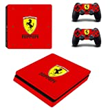 Adventure Games - PS4 SLIM - Ferrari - Playstation 4 Vinyl Console Skin Decal Sticker + 2 Controller Skins Set (Tamaño: Slim)