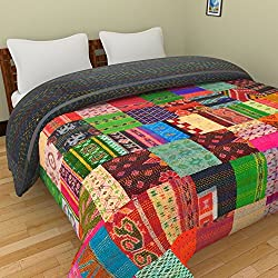 Chic & Comfort My Home MY Life.... Aditi Impex Handicrafts Asorted Silk Kantha Patchwork Single Bed Cover (150 cm x 220 cm) Multi Color