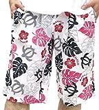 (マルカワジーンズパワージーンズバリュー) Marukawa JEANS POWER JEANS VALUE ショートパンツ メンズ ハーフパンツ アロハ柄 リゾート リラックス バカンス ボタニカル 7color L ピンク