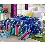Homehalo  マイクロファイバー毛布 ブランケット フランネル毛布 暖か 柔らか ベッドスロー ベッド ソファー用 オフィス用 ひざ掛け 大判 保温性に優れた (150x200cm, 流星群)