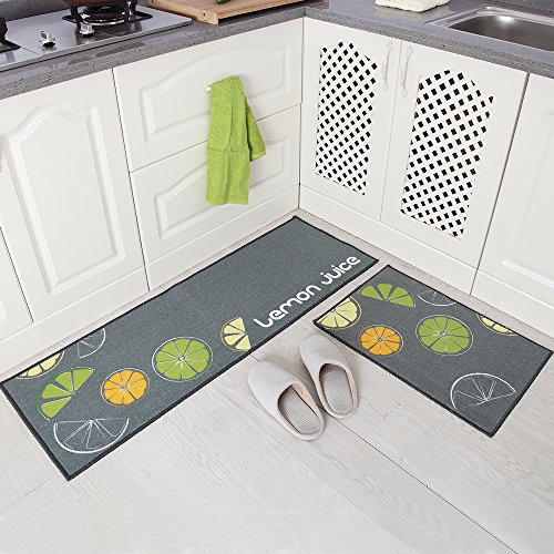 Carvapet 2 Piece Non Slip Kitchen Mat Rubber Backing Doormat Runner Rug Set Lemon Design Grey