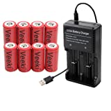Rechargeable 16340 CR123A Battery, Veeki 16340 RCR123A 3.7V 650mAh Protected Li-ion 16340 Batteries for High Drain Device (8pc+charger) (Tamaño: 8pc+charger)