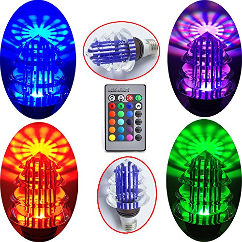 Tsflux New 3W Gu10 Led Magic Rgb Color Change Crystal Light Xmas Tree Decor Indoor Lamp Bulb+ Ir Remote Controller Energy Save Purple Shell Hotel House Ktv Bar Cafe Store Commercial Exhibition