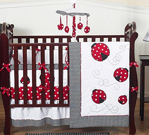 Sweet Jojo Designs Red and White Polka Dot Ladybug Baby Girl Bedding 9pc Crib Set