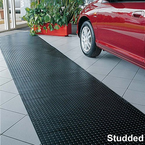 GARAGE AND WALKWAY STUDDED BLACK RUBBER FLOORING 1000MM X 10M. 4.5MM THICK (INCLUDING 1.5MM FOR STUD)