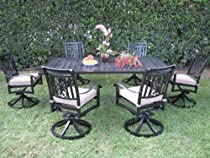 Hot Sale CBM Heaven Collection Outdoor Cast Aluminum Patio Furniture Dining Set with 6 Swivel Chairs Cbm1290