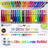 24 Glitter NeonGlitter Gel Pens 150% 2.5x More Ink Premium Quality Unique Pack Art Set Maximum Ink on The Market Best for Adult Colouring Books, Drawing, Coloring Great Christmas Gift Acid Free