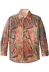 Isaac Mizrahi Little Boys' Two Tone Botanical Print Shirt
