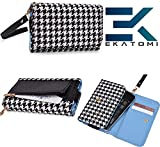 Carrying Case Cover Wallet [WHITE BLACK] Blackberry Curve 3G 9300 Ekatomi™
