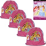 "5-Piece Disney Princess Mesh Tote Bags Set For Kids - 4 Disney Princess Mesh Front, Sling Backpack Tote Party Favor Bags (10.5"" x 12"") Featuring Ariel, Belle, Rapunzel from Tangled and Sleeping Beauty on the Front PLUS 1 Disney Princess Sticker Pad (4 Sheets) for Kids"