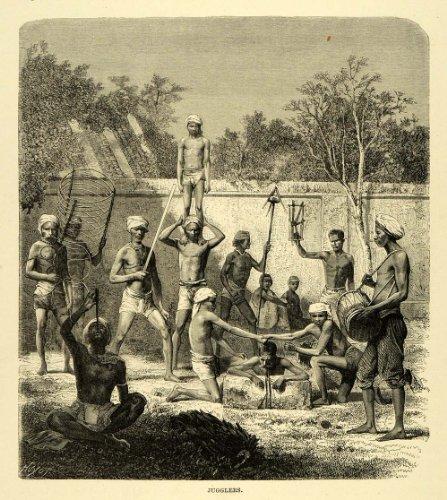 1878 Wood Engraving Jugglers India Asia Acrobat Entertainers Drum Music Knife - Original Wood Engraving