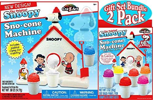 Snoopy Original Sno-Cone (Snow Cone) Machine & Refill (3oz) Pack Gift Set Bundle - 2 Pack (Good Snow Cone Machine compare prices)
