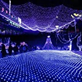 Blue 100 LED Net Mesh Fairy Lights Twinkle Lighting Christmas Wedding ...