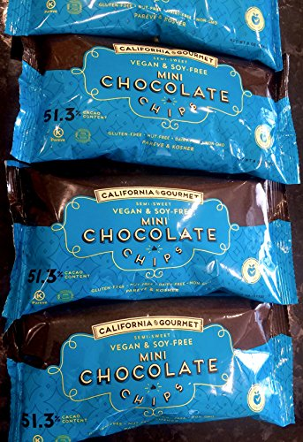51.3% Cocoa Vegan Chocolate Chips Soy Free Dairy Free Kosher Gluten Free Nut Free 8 oz. bags (3 Pack) (Chocolate Chips Gourmet compare prices)