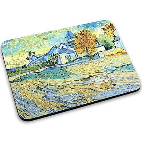 van-gogh-view-of-the-church-of-saint-paul-de-mausole-mouse-pad-tappetino-per-mouse-mouse-mat-con-dis