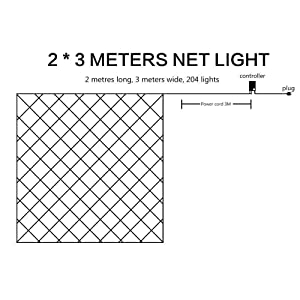 LED String Lights Net Mesh Lights 9.8ft x 6.6ft 204 Dimmable with Remote Control Tree-wrap with 8 Modes for Wedding Christmas Outdoor Garden (Blue) (Color: blue, Tamaño: blue)