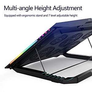 MeFee RGB Laptop Cooling Pad for 15.6-21 Inch Professional Gaming Laptop Cooler with 6 Quiet Fans and Button Control, Pure Metal Panel Portable Cooler (Color: Black, Tamaño: Supports 15.6--21 inch laptops)