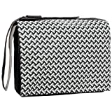 15.4 inch Black White Weave Polyurethane Laptop Notebook Padded Compartment Shoulder Messenger Bag