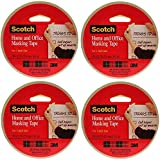 Scotch(R) Home and Office Masking Tape 3437-4, 1-inch x 55 Yards, 4 Pack