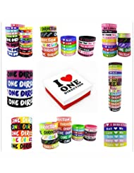 I Love One Direction Silicon Wristband Collection with Limited Gift Box (17pcs Big Band Pack)