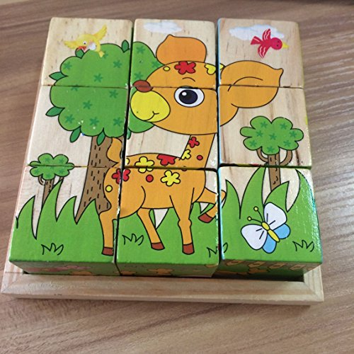 Lewo Wooden Cube Pattern Block Jigsaw Puzzles Toys