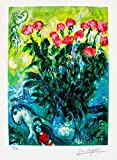 Art by Marc Chagall Les Roses Limited Edition Facsimile Signed Small Giclee Print. After the Original Painting or Drawing. Paper 15 Inches X 10.5 Inches
