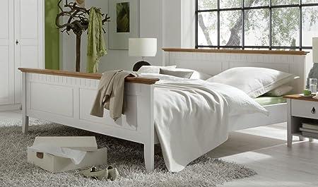 Dreams4Home Doppelbett Bettgestell Beja, Bett 180x200 Massivholz Kiefer weiß lasiert / Absetzung Honig