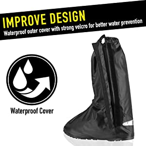 Anti-Slip Walking Boot Cover for Shoes Motorcycle Boots size Men 8.5-9.5 Women 10-11 with Reflective Heels and Sturdy Zippered Elastic Bands for Outdoor Hiking Camping Fishing Black