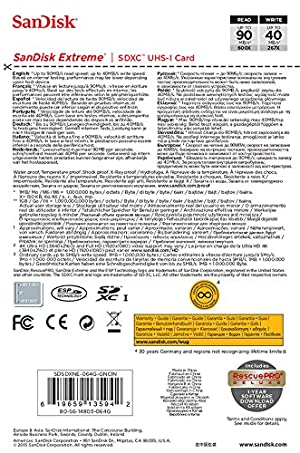 Tarjeta de memoria SanDisk Extreme SDXC UHS-I/U3 64GB