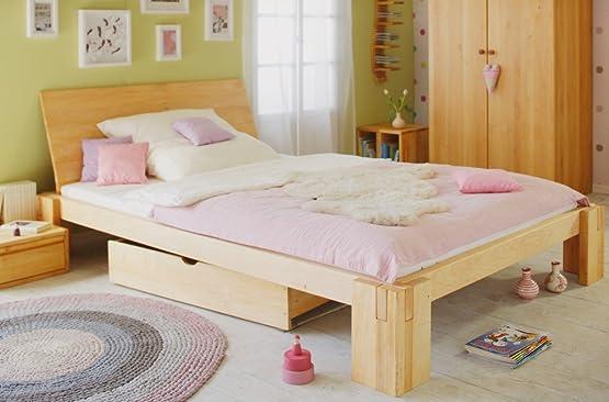 Letto Dario per adolescenti 140x200 cm, in legno massello di ontano biologico