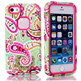 MagicSky Plastic + TPU Paisley Flower Pattern Tuff Dual Layer Hybrid Armor Case for Apple iPhone 5C - 1 Pack - Retail Packaging - Hot Pink