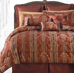 Blanket America Laurelton 7-Piece King Comforter Set, Red/Brown