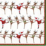 Caspari   Luncheon Napkins, Christmas Can,Packof20,Red