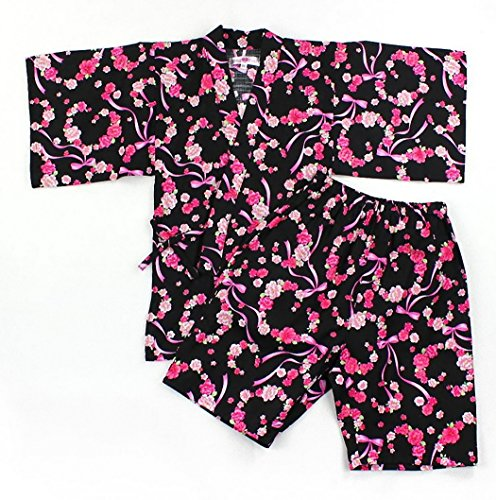 Japanses Traditional Summer Style Costume JINBEI [ Flower Design for Girls ] (51.2in(130cm), Black/Pink)
