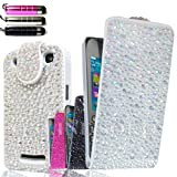 FOR BLACKBERRY CURVE 9360 NEW LUXURY SILVER / CLEAR CRYSTAL DIAMOND BLING FLIP POUCH DIAMANTE CASE COVER free screen protector & stylus