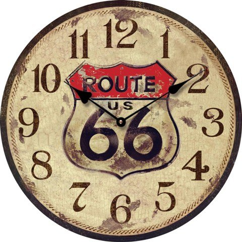 OROLOGIO DA PARETE DESIGN AMERICA ROUTE 66 NOSTALGIA 60CM - Tinas Collection