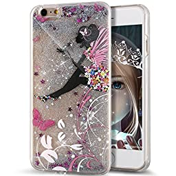 iPhone SE Case,iPhone 5S Case,ikasus [Slim Fit] Butterfly Flower [Faery Angel Girls] Printing Flowing Liquid Floating Bling Glitter Sparkle Stars Hard Case for Apple iPhone SE & iPhone 5S 5, Faery #1