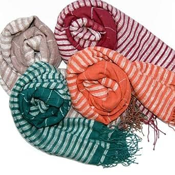 Fair Trade Hand Woven Lightweight Scarf 65% Silk 35% Ethiopian Cotton (Green)