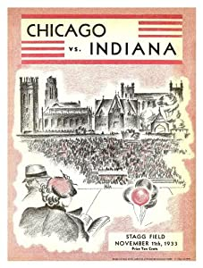 1933 Indiana Hoosiers vs Chicago Maroons 36x48 Canvas Historic Football Program by Mounted Memories